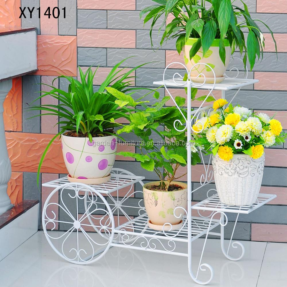 Nieuwe smeedijzeren fiets tuin mand 3 tier patio veranda plant bloem pot plantenbak stand - Leuningen smeedijzeren patio ...