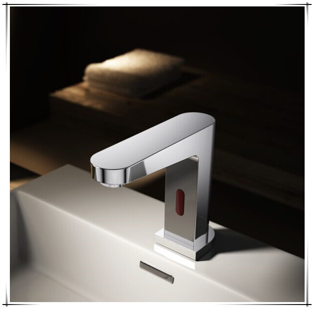 Infrared Sensor And Wave Sensor Dual Activation Hot/cold Automatic Bathroom  Faucet