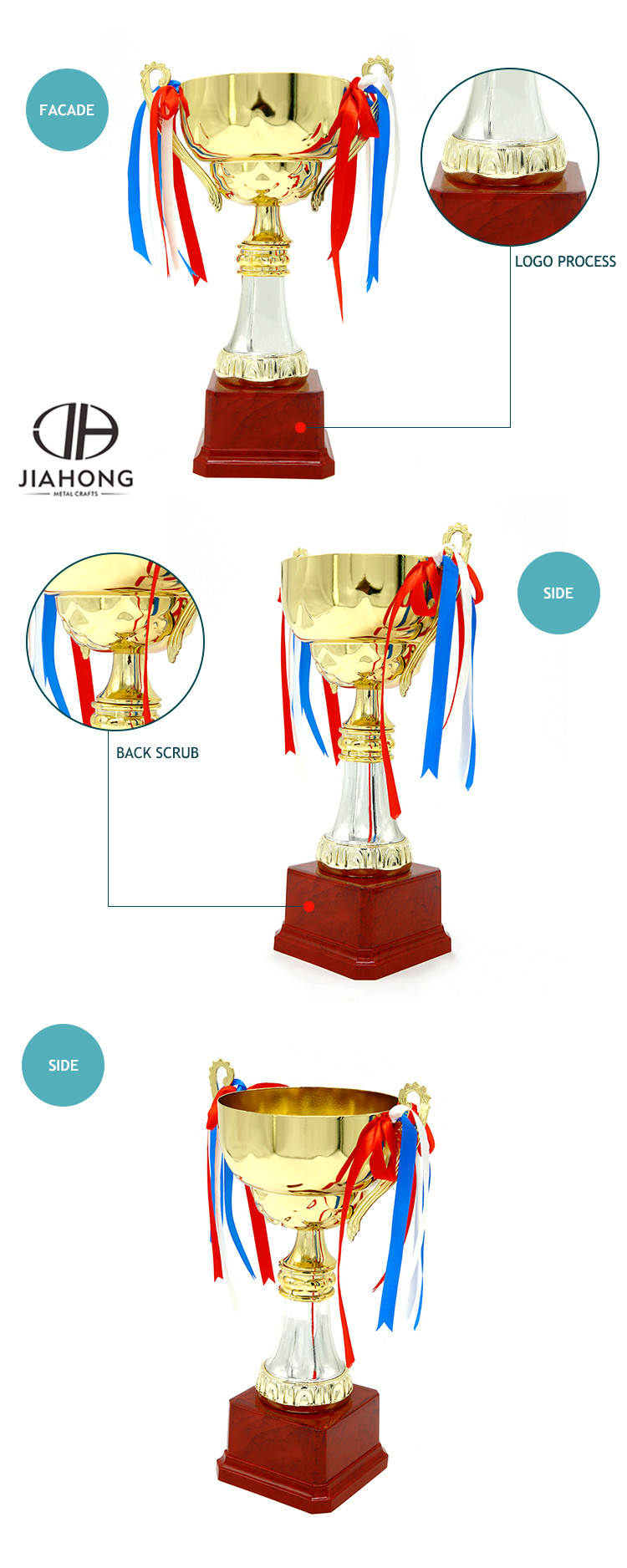 Large big brass soccer trophy cup