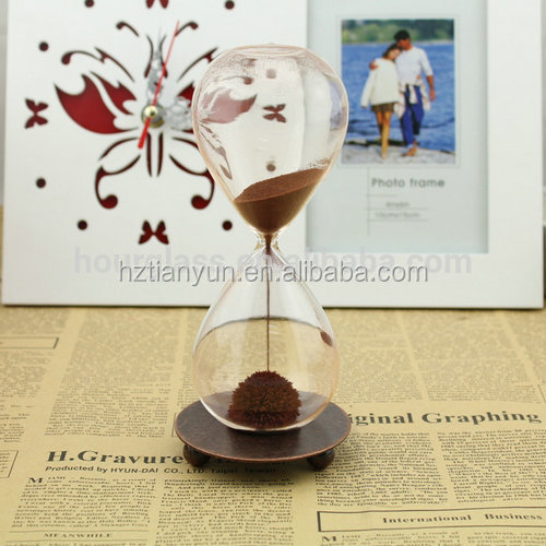 Custom 4 hours large Magnetic Hourglass sand timer With Wood Base