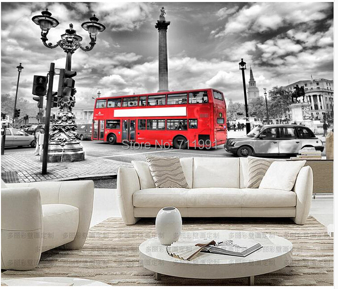 personnalis mur papier peint vintage london bus pour un salon tv toile de fond ktv bar. Black Bedroom Furniture Sets. Home Design Ideas