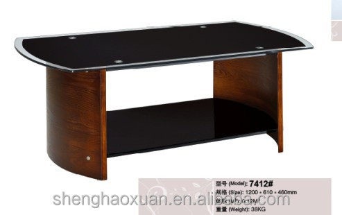 Hot Selling Home Furniture Center Tables Design Solid Wood Coffee Tables  With Glass Top