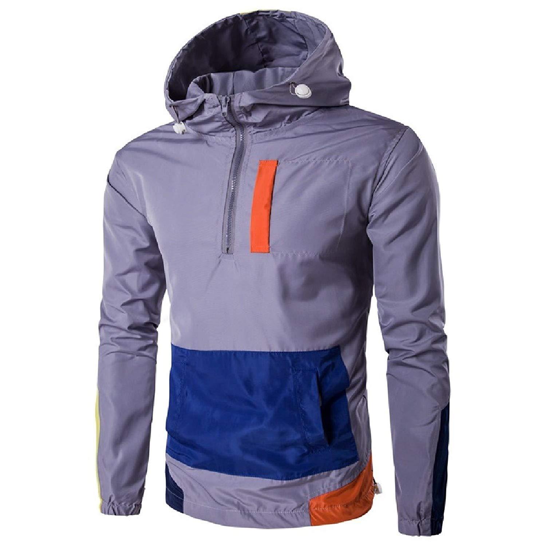 YUNY Men's Pullover Leisure Hood Windproof Trench Coat