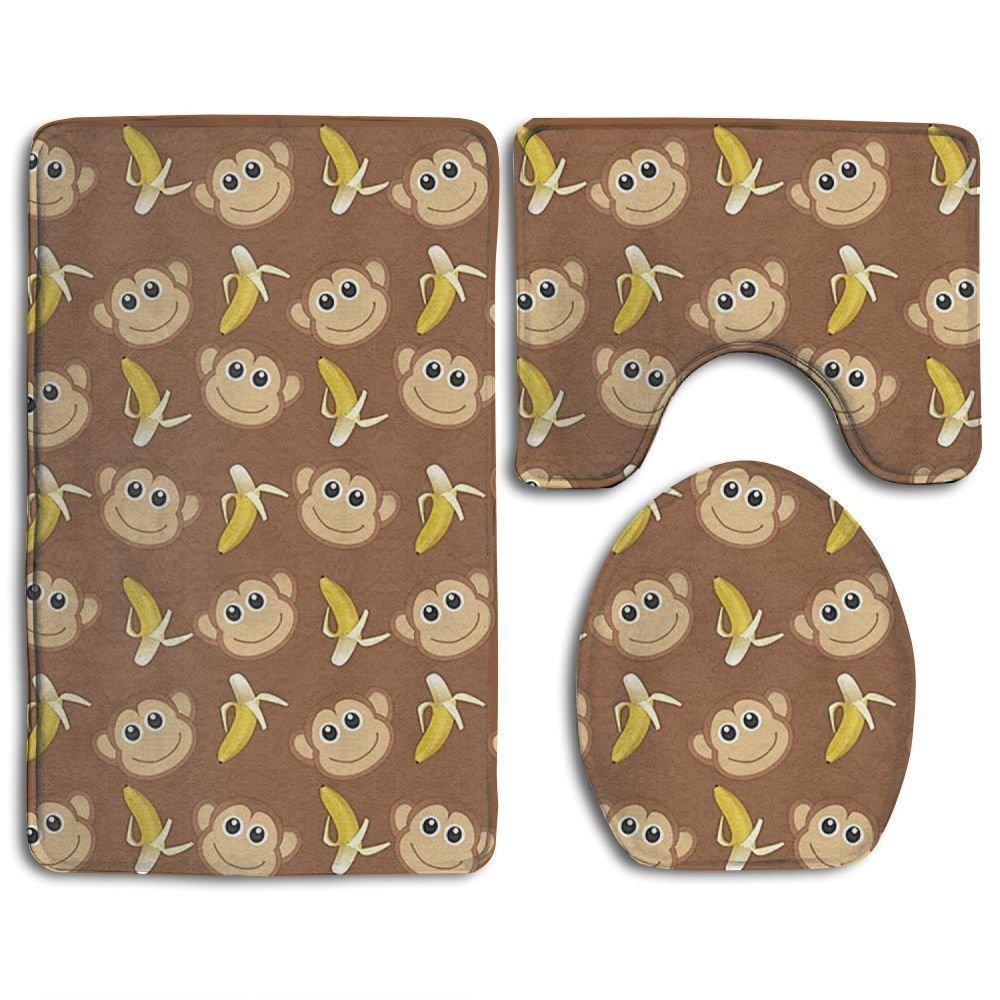 "Monkeys Love Banana Slip-Resistant 3 Piece Bathroom Rug Set Extra Soft Flannel Non-slip Bath Rug 31"" X 20"" - Contour Rug 20"" X 16"" - Lid Cover 14"" X 17"""