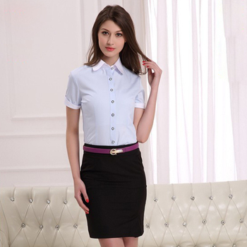 f0471cb85 fashionable women's short sleeve business shirt made in china (DSHL003)