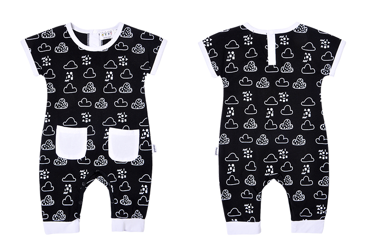 Newest Baby Bib Stree Cool Geometry With Pocket Short Toddler Boy Baby Rompers Bodysuit