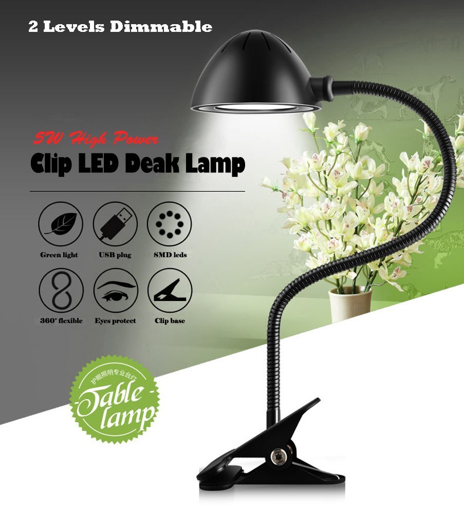 5W Brightness Dimmable LED Desk Lamp,Good for Reading/Studying/Working,Flexible and Protable Clip Table Lamp. 2-Level Dimmer,5V/1A USB Charging Port,22-Inches,Piano Black