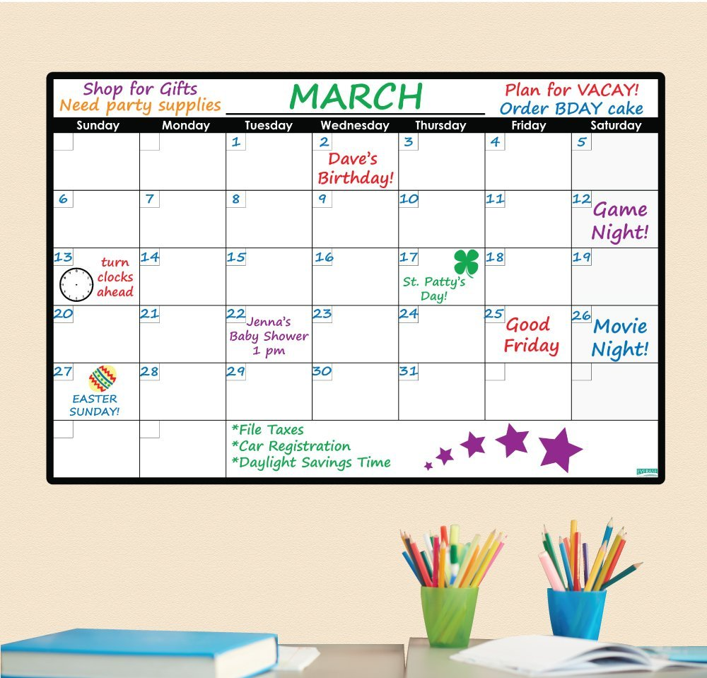 Everase Re-Stic Dry Erase Self-Adhesive Peel & Stick Monthly Calendar   Wall Planner (24 x 36 in.) FREE Marker & Cloth   Organizer, Walls, Doors, Offices   Premium Quality Removable Decal