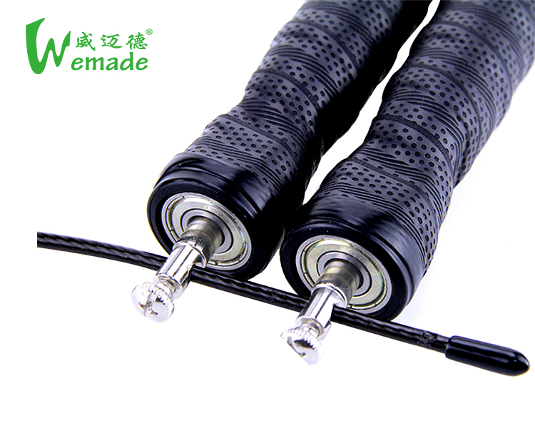 Custom Logo Print Comfortable Sweat jump rope with Bearing and Sweatband Handles