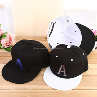 "spring new style 6-panel custom plain 100 acrylic trendy ""A"" embroidery flat bill hat cheap snapback hip-hop cap and hat"