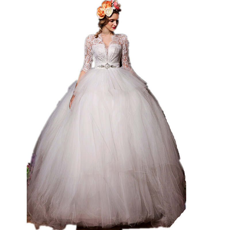 Charming Wedding formal dress V-neck lace applique crystal half sleeve Floor-Length ball gown Sexy noble bride dresses