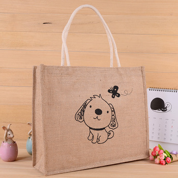 Custom reusable jute tote shopping bag