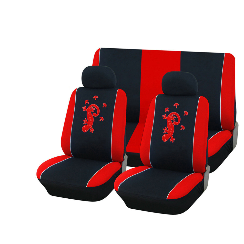 AUTOYOUTH Polyester Fabric Gecko Embroidery Car Seat Cover Set Universal Fit Most Vehicles Seat Covers Car