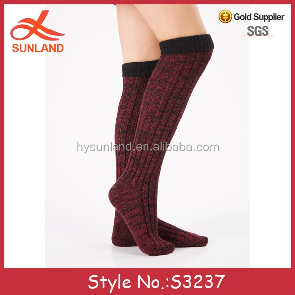 28e19df36fc S3237 fashion 2017 winter hand knit mixed color over the knee socks long  slipper socks with