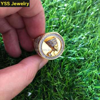 Ice out CZ diamond ring 18k gold plated ring designs for men Hip hop Whole sale ring
