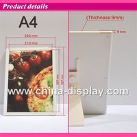 A4 landscape led light photo frame magnetic acrylic white frame