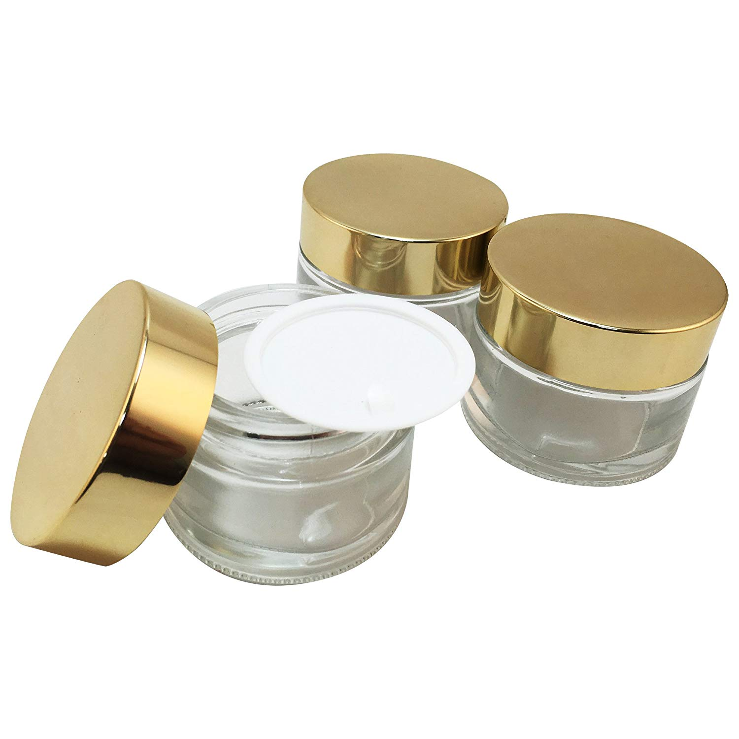 Clear Glass Makeup Cream Jar 50 ml (Shiny Gold Aluminum Lid) (Pack of 3)