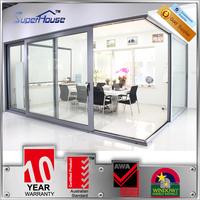 Superhouse 10 years warranty Australian standards door manufacturer double glazed aluminium framed sliding glass door