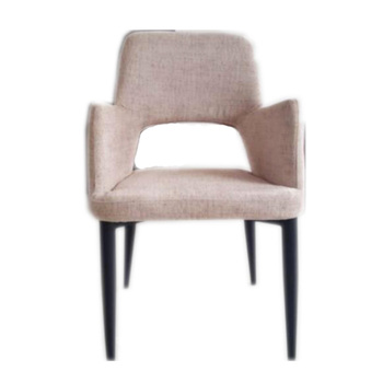 Modern Armrest Dining Chair Hole Back With Metal And Fabric