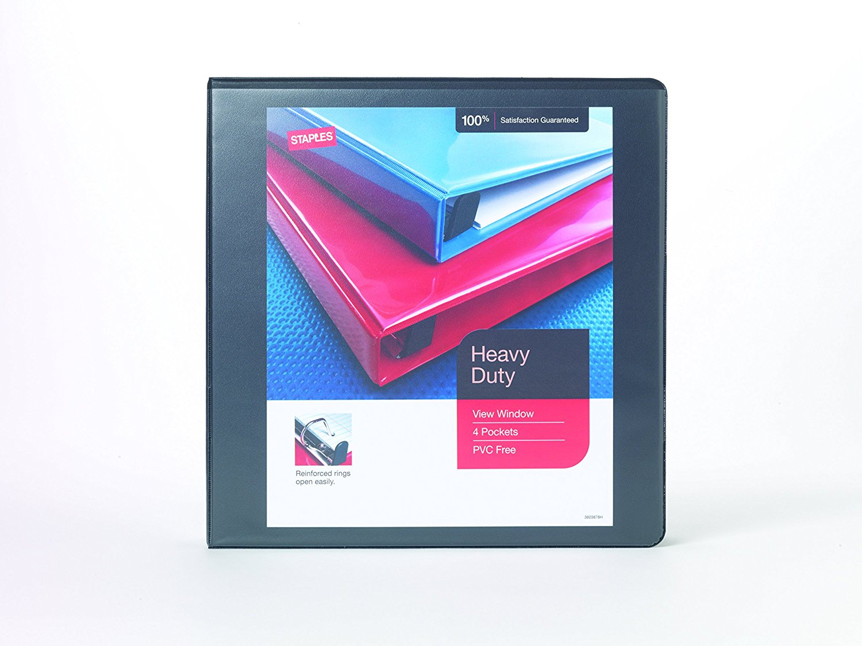 buy staples heavy duty 2 inch slant d 3 ring view binder black