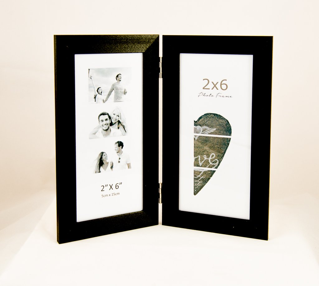 Photo Booth Frames, displays Two 2x6 inch Photo Booth Pictures Black (1)