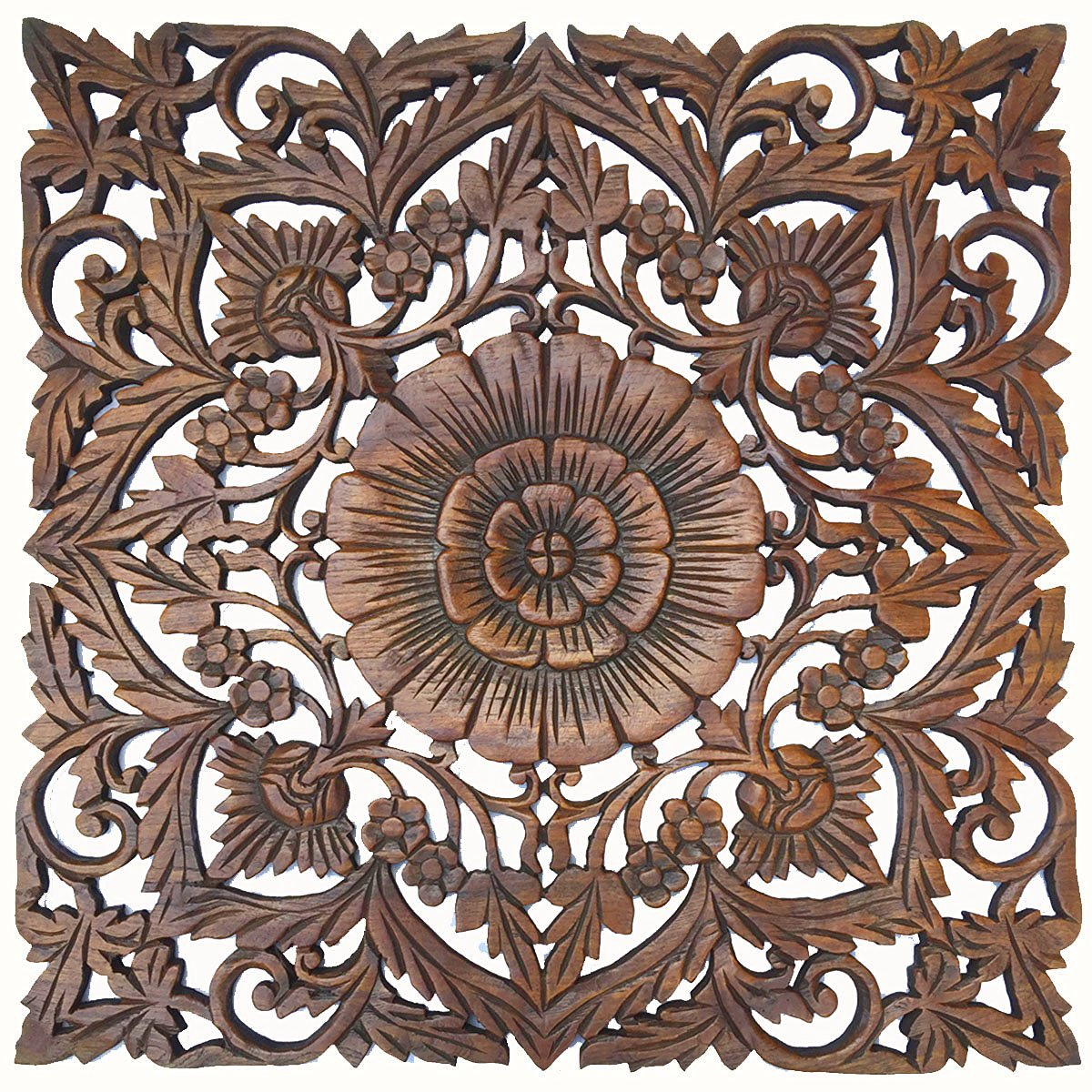"Large Wood Wall Art- Oriental Carved Wood Wall Decor. Floral Wall Decor. Asian Home Decoration. Rustic Home Decor. Size 24""x24""x0.5"" (Oak)"