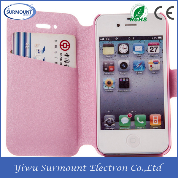book style leather case for mobile phone for iphone4/4s/5/5s/6/6s