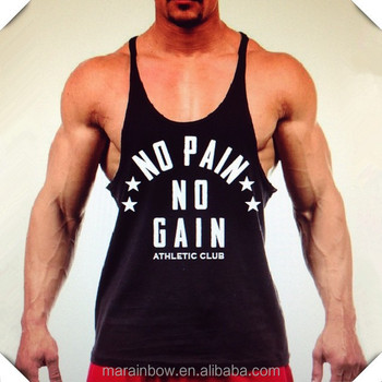 135d64647c713d No Pain No Gain Mens Stringer Tank Top Wholesale Workout Clothing Custom  Printed Gym Tank Top