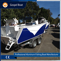 Deep V aluminum pleasure boat center console fishing boat cabin cruiser with hardtop