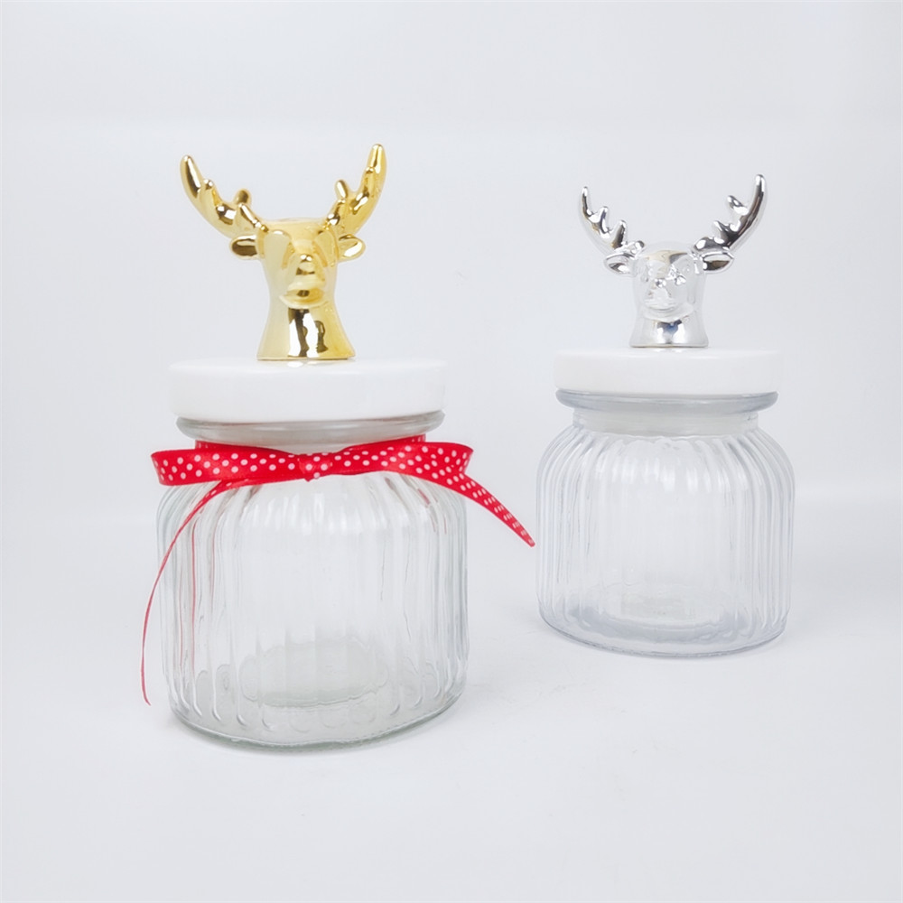 Sealed Glass Food Container Storage With Deer Head Cover