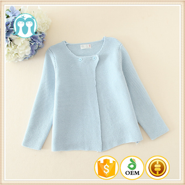 New Autumn designs Children Clothing Kids Wear Cardigan Sweater O-neck Child Cardigan Girls Light Blue Sweaters