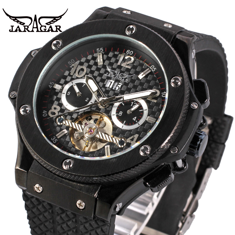 Jaragar chronograph Black Rubber Luxury Sport Watch Men Brand Watch Relogio Masculino