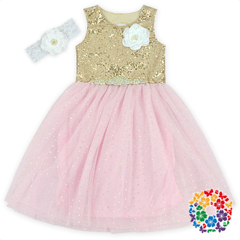 7fe7949e2086 Gold Sequins   Pink Chiffon Baby Dress Fashion Design Small Girls Dress  With Flower Baby Girls