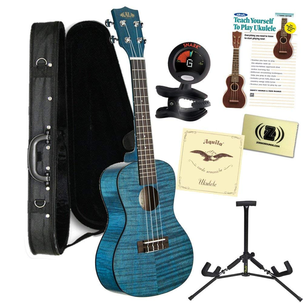 Kala KA-CEMB Concert Transparent Blue Satin/ Exotic Mahogany Ukulele Bundle with Polyfoam Case, Tuner, Alfred's Teach Yourself to Play Ukulele C-Tuning Edition with DVD, Polishing Cloth, Extra Strings and Stand