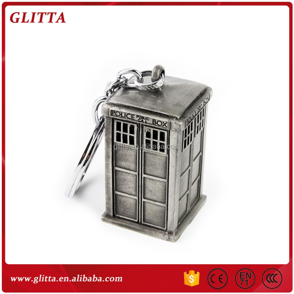 Doctor who metal 3D Box keychain,Doctor Who Talking Plush Tardis 3D Keychain,movie keychain GK1534