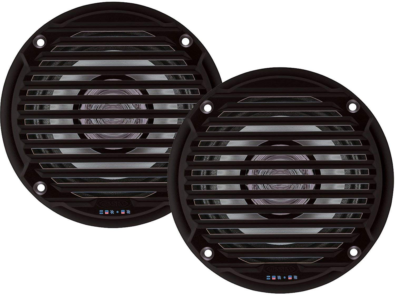 "Jensen MS5006BR Pair of MS5006B 5.25"" Black Dual Cone Waterproof Speaker, 30 Watts Max Power Handling, Sensitivity @ 1W/1 Meter 88dB, Frequency Response 65Hz-20kHz, Nominal Impedance 4 Ohms, 5-15/16"" Grille Diameter, 4-3/8"" Mounting Hole Diameter, 1-1/2"" Mounting Depth"