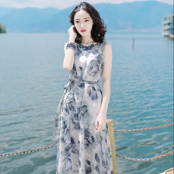 2018 flower pattern white sleeveless lace 4xl big size woman dress