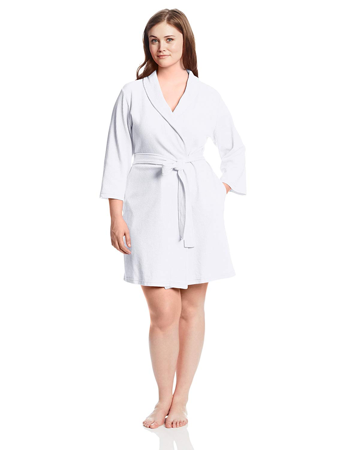 e794b62aee Sleeve Length long. Get Quotations · Casual Moments Women s Plus-Size 37  Inch Waffle Wrap Robe Plus