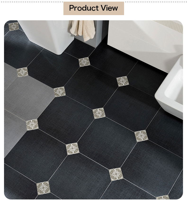 3D Baroque gray style floor tiles art sticker for decorating living room kitchen decals removable waterproof murals