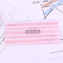 Новые корейские школьные канцелярские милые Креативные ПВХ пеналы свежие полупрозрачные сумки для хранения(Китай)