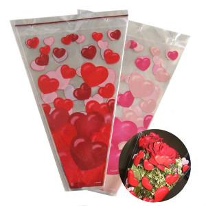 made in China high quality custom printed colorful three-cornered plastic flower packaging bag