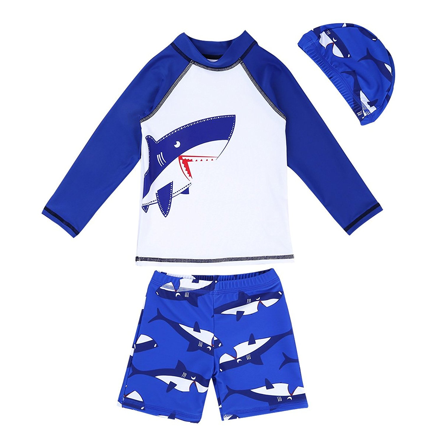 eeabfe39bd Get Quotations · iEFiEL Kids Boys Shark Pattern Swimsuits Sun Protection Swimwear  Bathing Suit Tops with Trunks Swim Cap