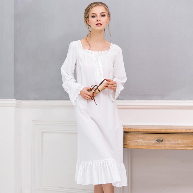 709cf00175 100% Cotton Plain White Cotton Nightshirts Women s Long Sleeve Plain White  Nightgown