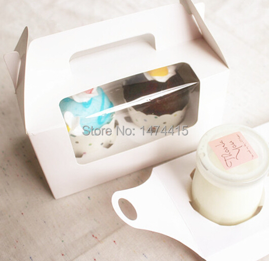 16.5*9.3*9 cm 6.5''*3.7''*3.5''  cupcake box, white cardboard box milk bottle package box food gift packaging box Free shipping