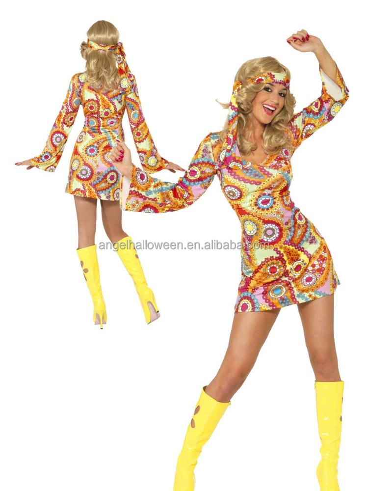 70s Psychedelic Hippie Fancy Dress Outfit 60s Hippy Chick Lady