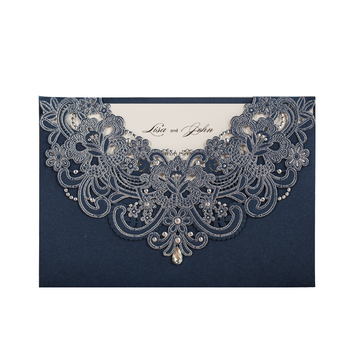 Wishmade Wholesale Navy Blue Laser Cutting Wedding Invites Embossed Bridal Shower Invitations Elegant Wedding Invitations Cards
