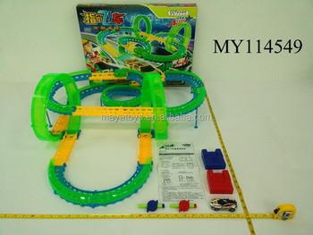 24g sound control car railway set electric race car tracks for kids race car tracks