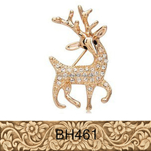 New arrive animal gold jewelry for people diamond sika deer shaped brooches