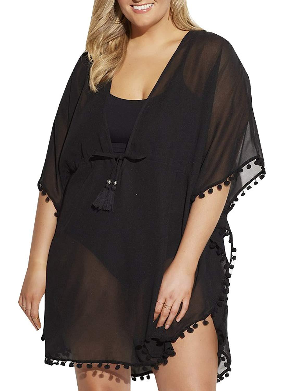 fecff9c7e7 Get Quotations · Womens Plus Size Chiffon Bathing Suit Cover Ups See  Through Kaftan Swimwear Bikini Dress