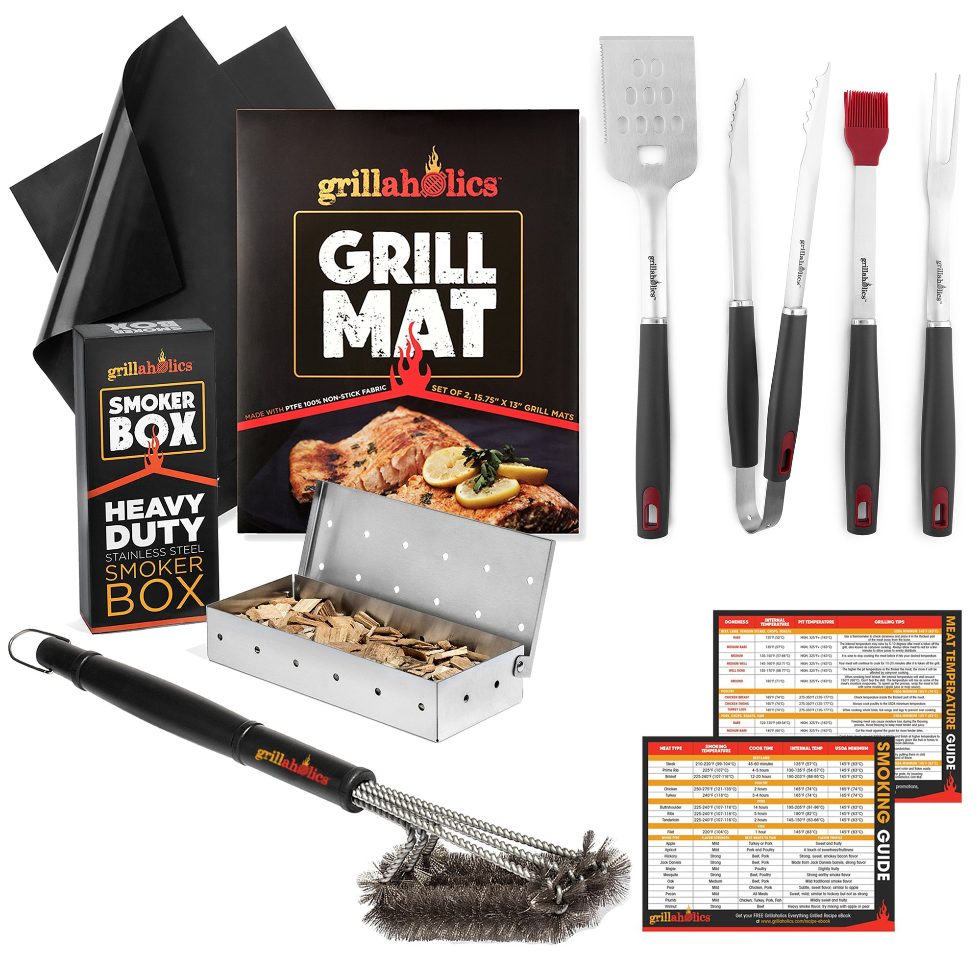 Grillaholics Complete Grilling Package - Includes Set of 2 Non Stick Grill Mats, 4-Piece BBQ Tool Set, Stainless Steel Smoker Box, Heavy Duty Grilling Brush, and Meat Temperature Guide